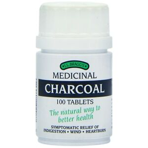 J.L BRAGGS MEDICINAL CHARCOAL TABLETS FOR INDIGESTION - 100