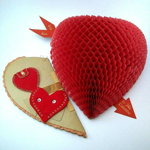 1950s Valentines Decor Fold Out Tissue Paper Honeycomb Handmade Holders Cute VTG