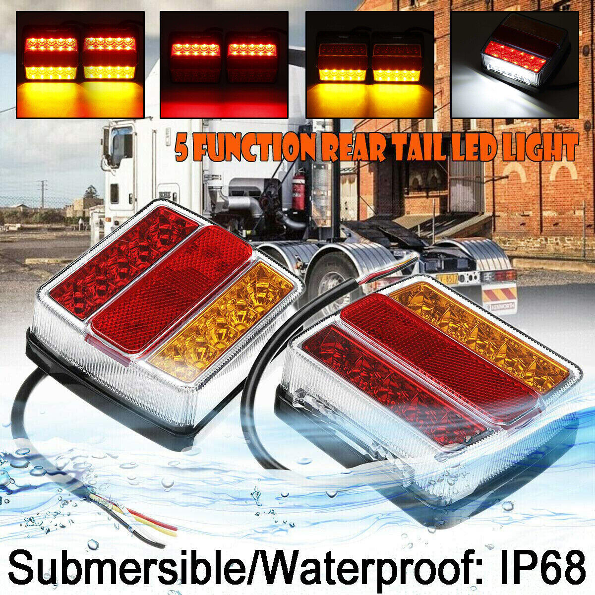 2/Pieces LED Rear Tail Brake Turn Signal Brake Light License Plate Lamp for Trailer Truck Recreational Vehicle