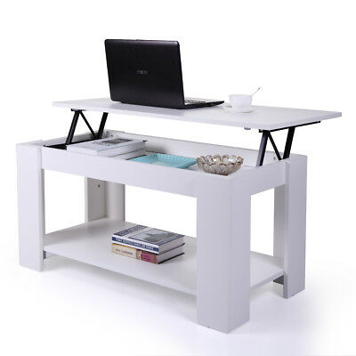 White Coffee Table Lift Top Storage Shelves Wood Living Room Furniture End Table ()