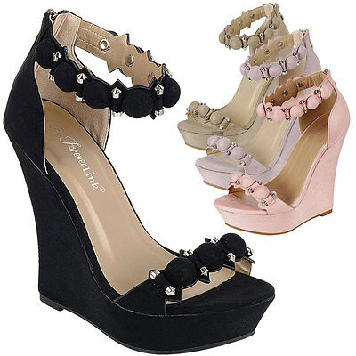 Women Open Toe High Heel Platform Wedge Sandal Pump Stud Bead Button Ankle Strap ()