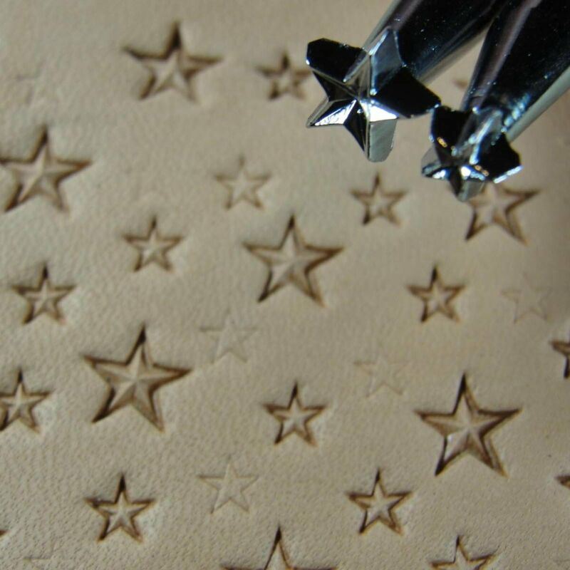 Craft Japan - #Z609/Z610 Small 5-Point Star Stamp Set (2 Leather Stamping Tools)