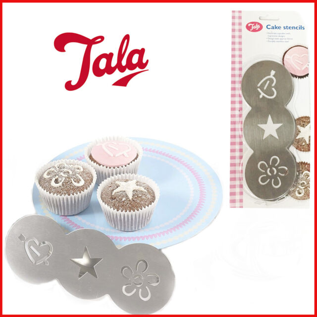 3 Shape Cake Stencils Stainless-Steel Cupcake Decor TALA Sugar Craft New