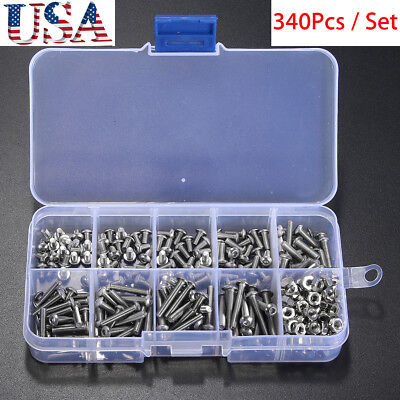 340x Metric M3 304 Stainless Steel A2 Button Head Hex Socket Cap Screw Bolt Set