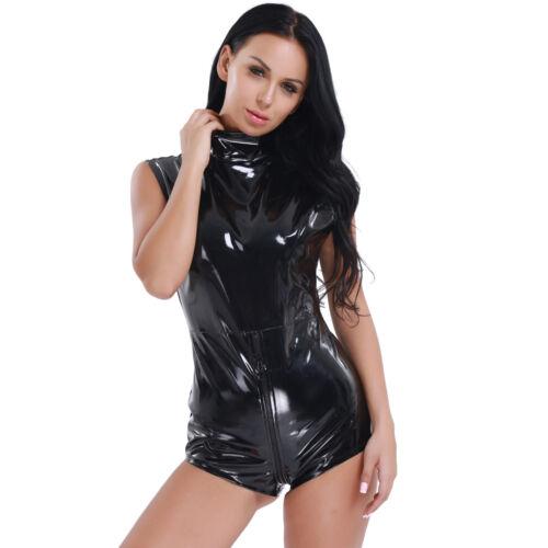 Damen Kunstleder Body Reißverschluss Langärmelig Wetlook Overall Strampler