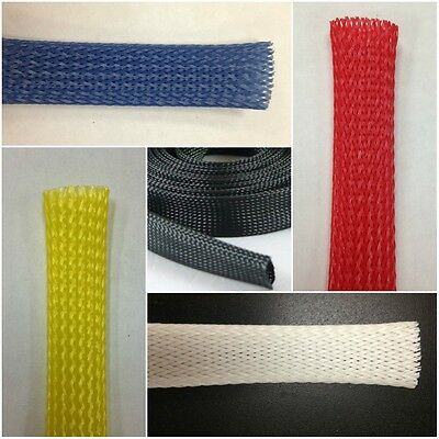 Braided Expandable Sleeve - Wire and Cable Loom Sleeving - Choose Color & Size