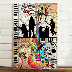 Unframed Canvas Prints Home Decor Wall Art Picture-Abstract Music Piano Guitar