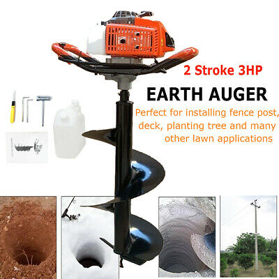 63cc 3hp Gas Powered Post Hole Digger With 12earth Auger Drill Bit For Planting