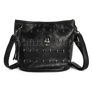 UK Women PU leather Skull Studs Punk Goth Tassels Messenger Bag Shoulder Handbag