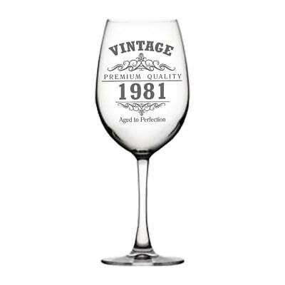 Vintage 1981 40th Cumpleaños Gigante Copa de Vino