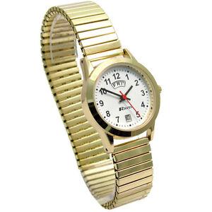 Ladies Ravel Quartz Day-Date Watch with Expanding Bracelet Goldtone R0706.19.2EX