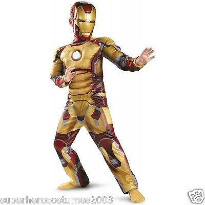 Iron Man 3 Mark 42 Muscle Costume ARC REACTOR GLOWS INCLUDES GLOVES! 7-8 - - Ironman Mark 7 Kostüm