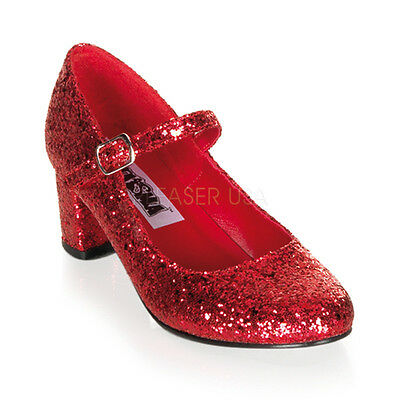 Red Glitter Ruby Slippers Dorothy Low Heels Mens Drag Queen Costume Shoes 11 12 - Red Dorothy Heels