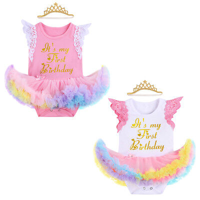 1st Birthday Romper Bodysuit Tutu Dress +Crown Headband Outfit Set for Baby - Tutus For Babies 1st Birthday