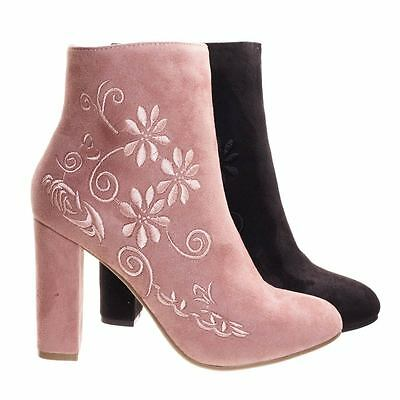 Bestow5 Embossed Floral Embroidery Ankle Bootie W Block Heel  Women Dress Boots