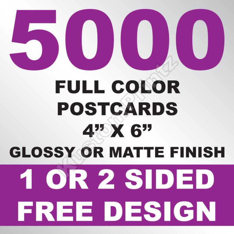 5000 CUSTOM FULL COLOR 4X6 POSTCARDS | 16PT | GLOSSY UV FINISH | FREE DESIGN