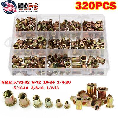 320pcs Sae Zinc Steel Rivet Nut Kit Rivnut Tool Nutsert Assort
