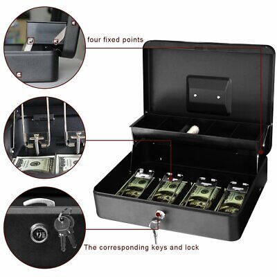 Cash Lock Box Security Money Jewelry 5 Compartment Tray Key Locking Metal Safe