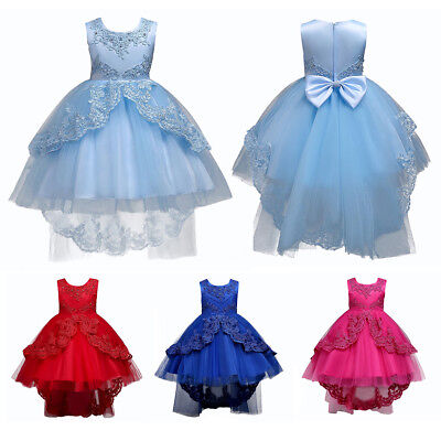 Lace Appliques Flower Girl Dress High Low Wedding Party First Communion Dresses