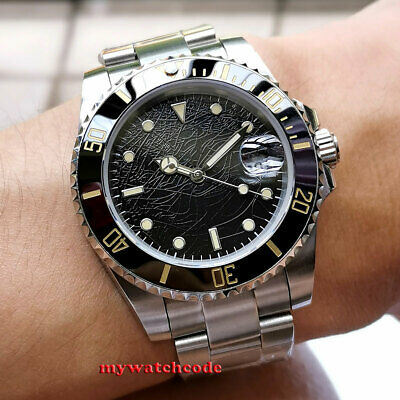 40mm BLIGER black sterile dial ceramic sapphire glass date automatic mens watch