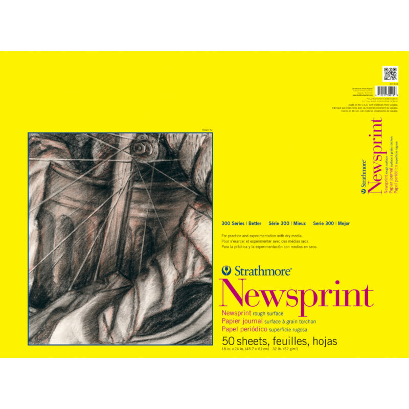 "Strathmore Rough Newsprint Paper Pad 18""X24""-50 Sheets"