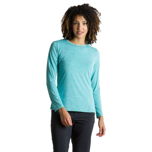 ExOfficio Sol Cool Kaliani long sleeved shirt women M Saltwater Heather UPF50