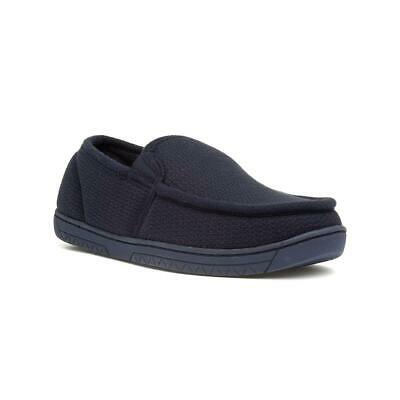 The Slipper Company Mens Blue Textured Moccasin Slippers