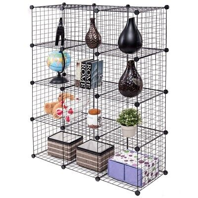 12 Adjustable Clothing Book Wire Shelves Storage Cube Grid Dorm Room Closet DIY