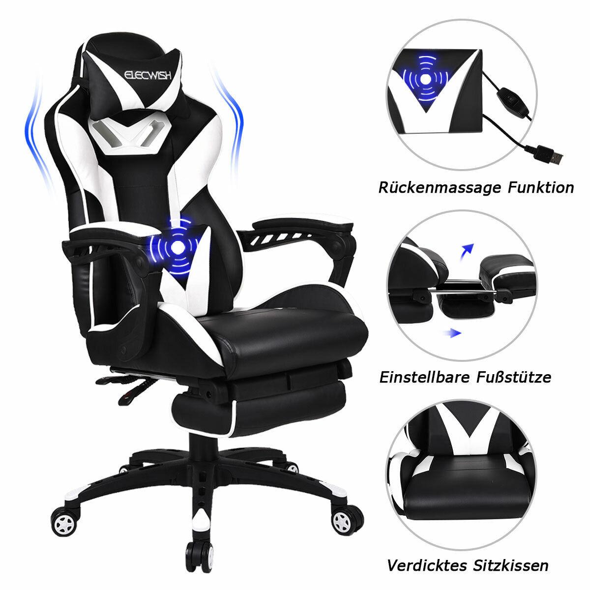 Esports Gaming Stuhl Bürostuhl Chefsessel Weiß Mit Armlehne Massage Kissen 150kg