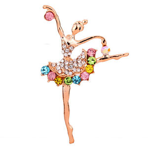 Gold Tone Ballet Girl Diamante Full Colorful Crystal Brooch Women Bridal Party