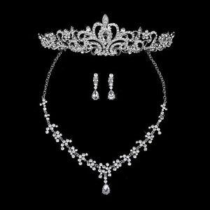Hochzeit Tiara Kristall Strass Braut Diadem Halskette Ohrringe Party Schmuck Set