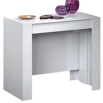 Tavolo consolle allungabile 10 posti multi posizione bianco lucido casa  cucina