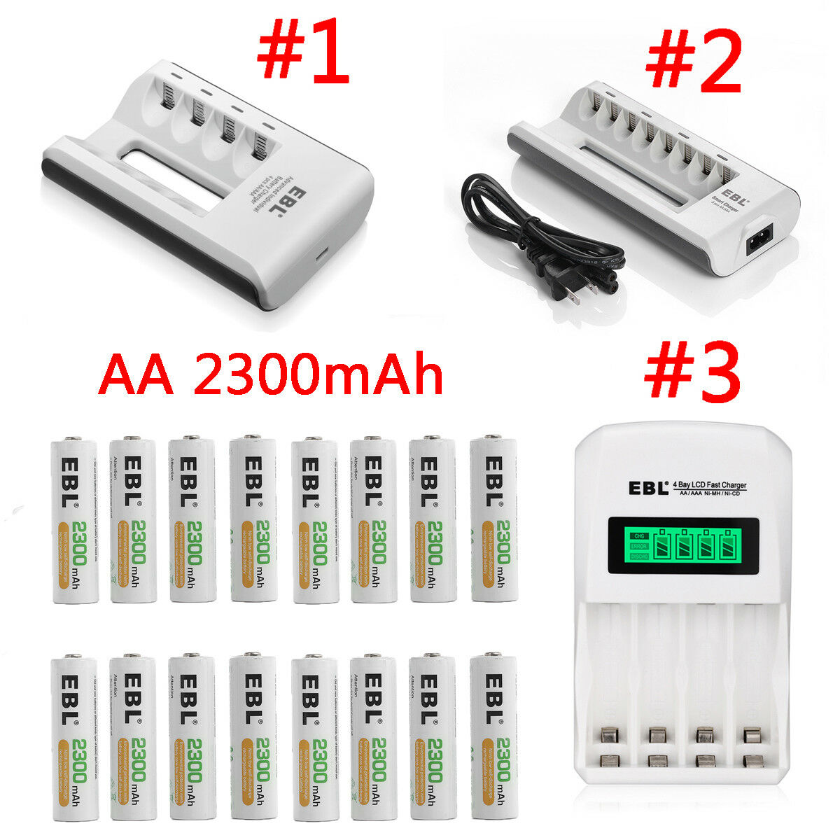 Lot EBL 2300mAh AA Rechargeable Batteries / Charger For AA A