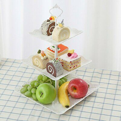 3 Tier Cupcake Stand Square/Round Wedding Birthday Party Cake Display Tower  -