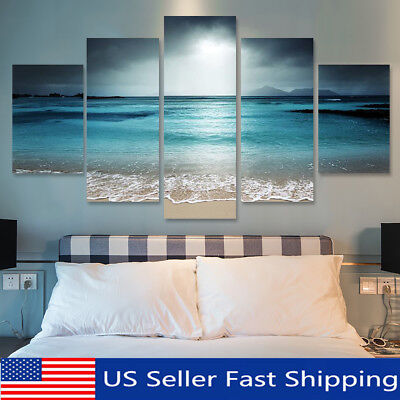 - 5Pcs Sunset Seaside Canvas Print Art Painting Home Decor Wall Picture Framed