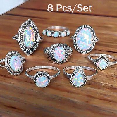 8PCS/Set Vintage 925 Silver Ring Fire Opal Gemstone Engagement Wedding Party  (Opal Set Ring)