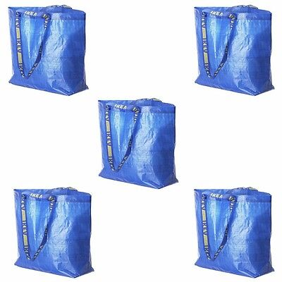 Lot of 5 IKEA Medium Reusable Eco Bags Shopping Laundry Tote Travel Bag FRAKTA