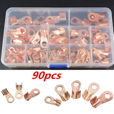 90Pcs/Box Copper Car Battery Cable Wire Connector Terminals Open Lugs 10A-100A