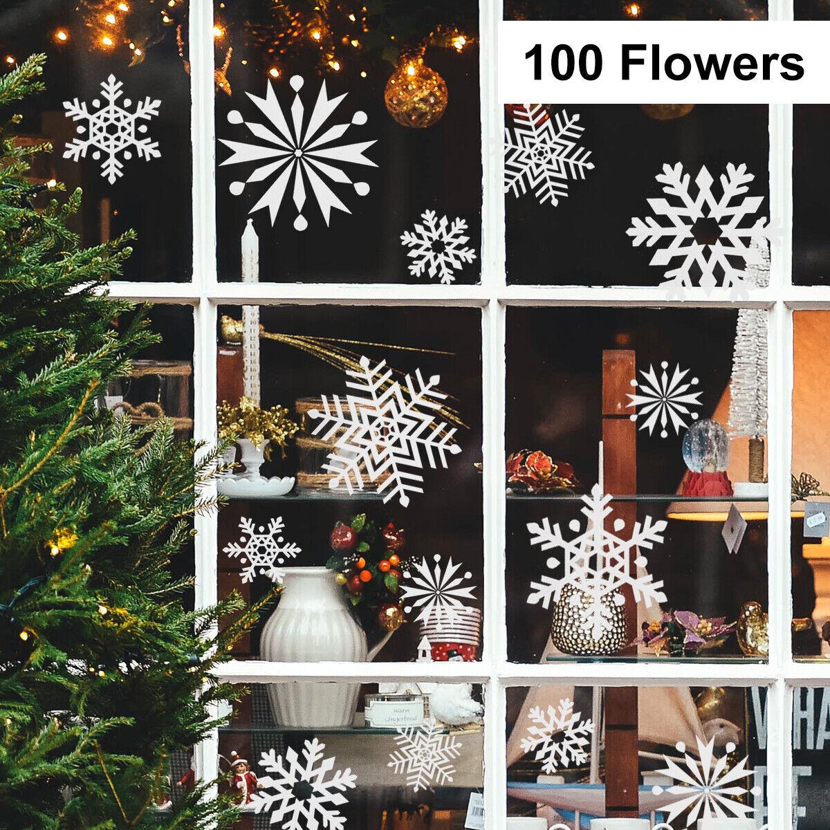 100  Schneeflocken-Fensterdekoration Weihnachten Fenstersticker Fensterbilder