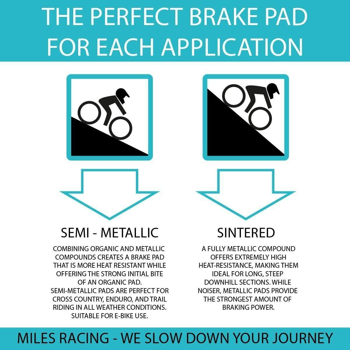 Miles Racing Sintered Brake Pads for Mountain Bike Disc Brakes Shimano New XTR