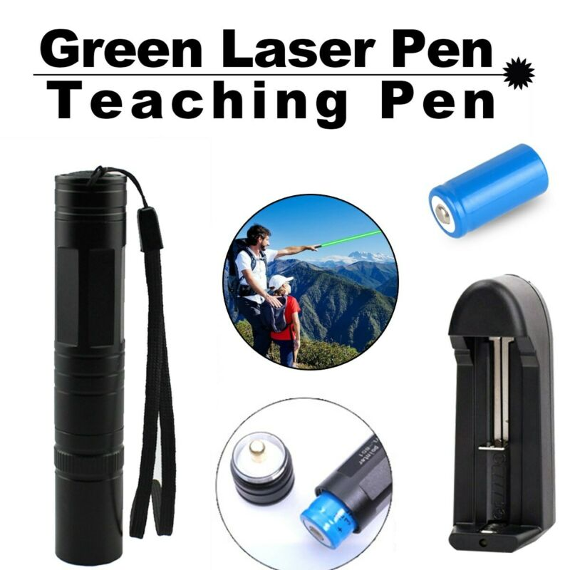 Single Dot 900Miles 532nm 1mw Green Laser Pointer Pen For Pet Toy+Batt+Char