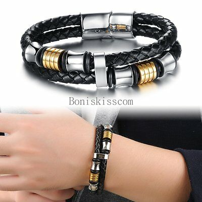 Black Braided Leather Rope Silver Stainless Steel Bracelet Wristband for Men
