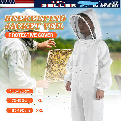 Xl Professional Cotton Full Body Beekeeping Bee Keeping Suit W Veil Hoo