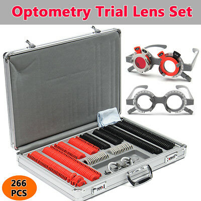 266 Pcs Optical Lens Optometry Rim Case Kit Set W Optometry Test Trial Frame