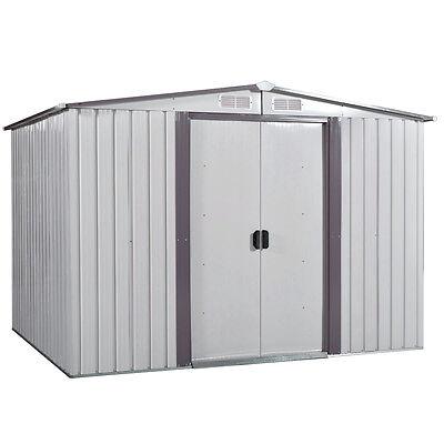 (8' x 8' Garden Shed Storage Kit DIY Backyard Metal Building Doors Outdoor Steel)