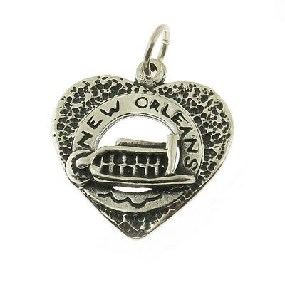 925 Sterling Silver New Orleans Riverboat in Heart Charm Made in USA