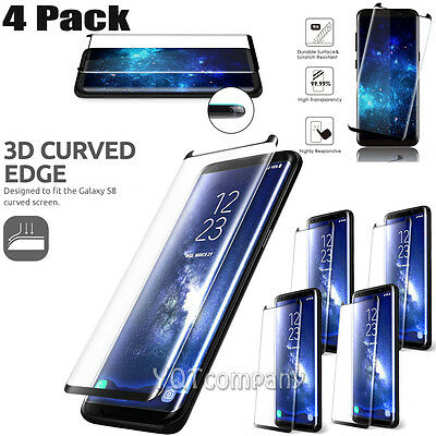 4 Pcs Case Friendly Cover Tempered Glass Screen Protector For Samsung Galaxy S8