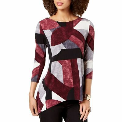 ALFANI NEW Women's Printed Swing Tunic Shirt Top TEDO