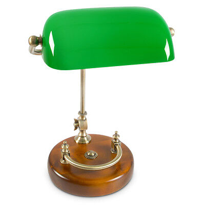 Messing Banker Lampe (Bankerlampe grün mit Holzfuß Messing-Optik 30er Jahre Schreibtischlampe neigbar)