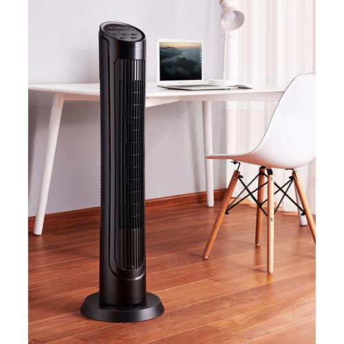 "OmniBreeze, Oscillating 40"" Tower Fan w Multi Speed + Remote Control"